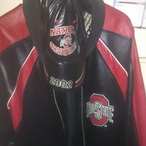 Ohio State Genuine  Leather Coat&Hat